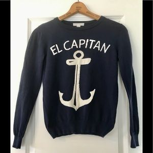 Forever 21 Nautical navy blue sweater w anchor